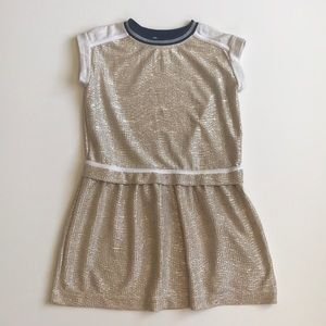 Crewcuts gold metallic dress with cotton accents 6